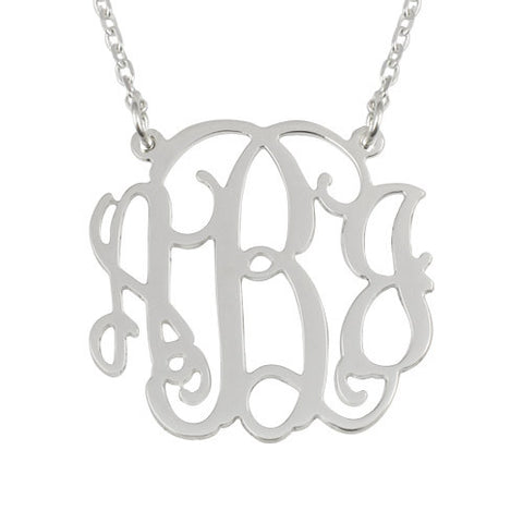Sterling Silver Personalised Monogram Necklace Sides Attached