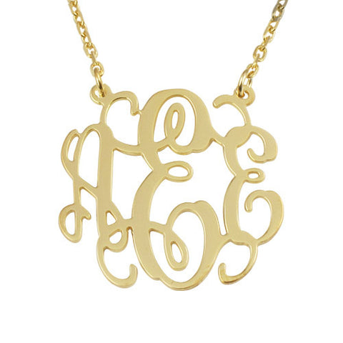 18K Gold Plated Personalised Monogram Initials Necklace Sides Attached