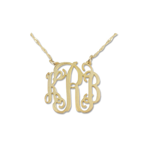14K Solid Gold Personalised Monogram Initials Necklace with Sides Attached