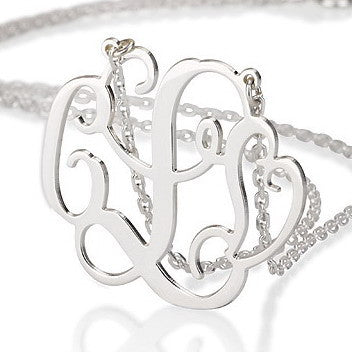 Sterling Silver Personalised Two Initial Necklace with Heart