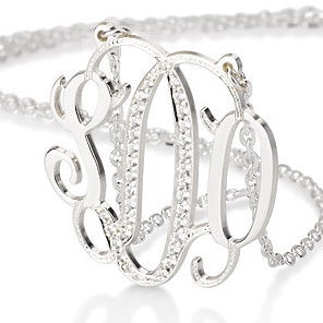 Sterling Silver Personalised Swarovski Monogram Necklace
