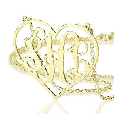 18K Gold Plated Personalised Heart Framed Monogram Necklace