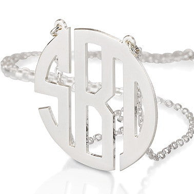 Sterling Silver Personalised Block Letter Monogram Initials Necklace