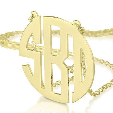 18K Gold Plated Personalised Block Letter Monogram Initials Necklace