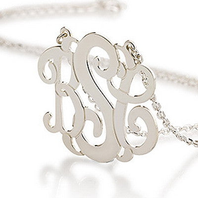 Sterling Silver Personalised Curly Monogram Necklace