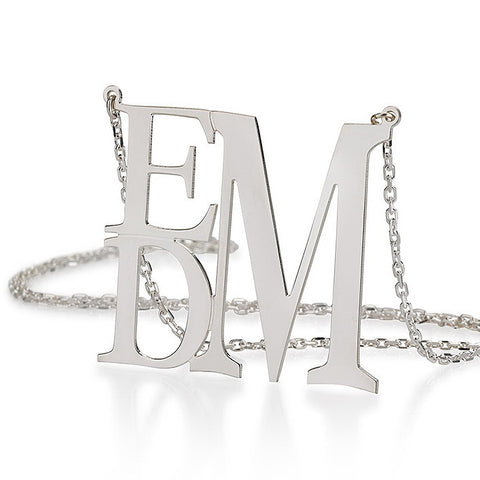 Sterling Silver Personalised Rectangular Monogram Necklace