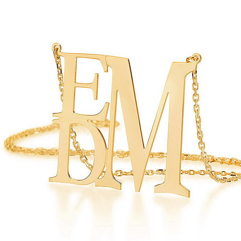 18K Gold Plated Personalised Rectangular Monogram Initials Necklace