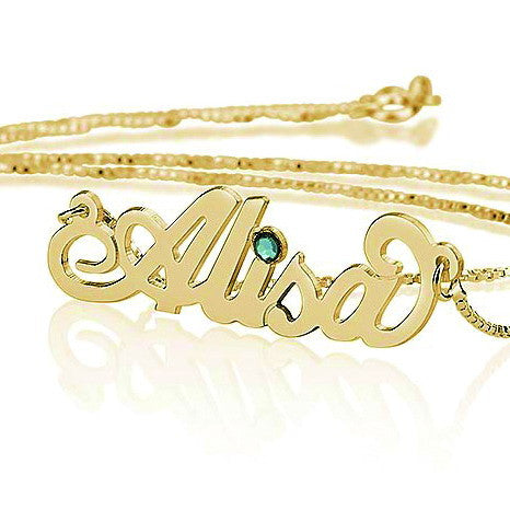 18K Gold Plated Personalised Carrie Style Name Necklace with Birthstone