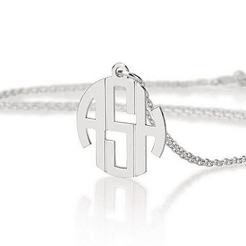 Sterling Silver Personalised Mini Block Monogram Initials Necklace