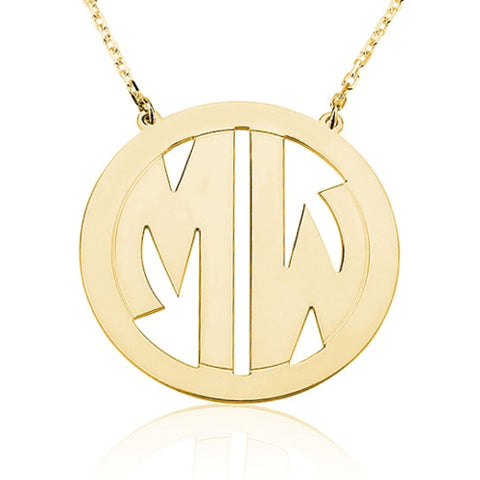 18K Gold Plated Personalised Bordered Block Monogram Initials Necklace