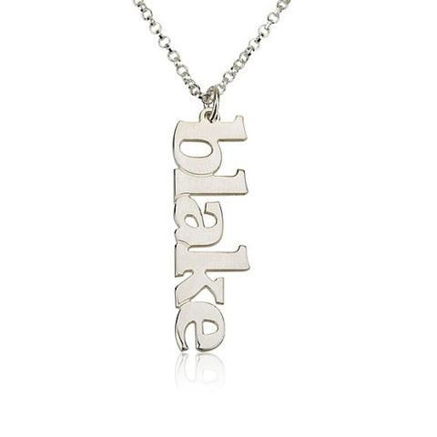 Sterling Silver Personalised Vertical Name Necklace