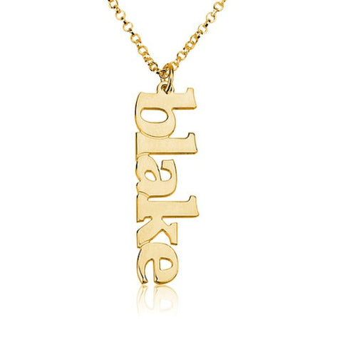 18K Gold Plated Personalised Vertical Name Necklace