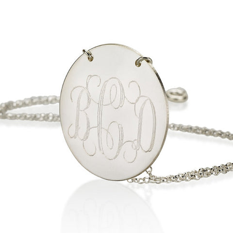 Sterling Silver Personalised Monogram Disc Necklace