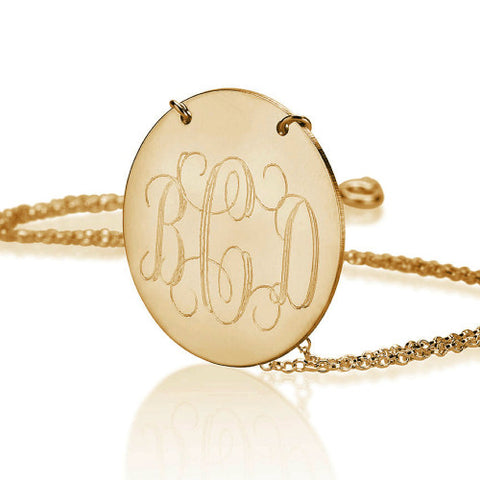 18K Gold Plated Personalised Monogram Disc Initials Necklace