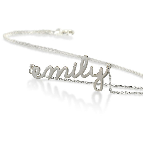 Sterling Silver Personalised Script Name Necklace