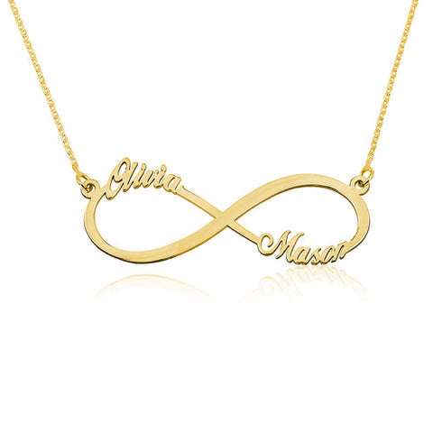 18K Gold Plated Personalised Infinity 2 Names Necklace