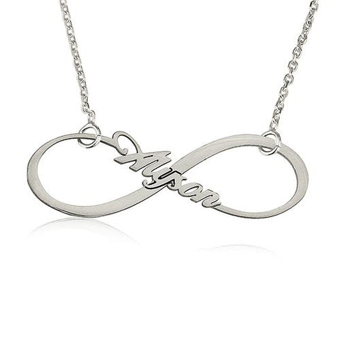 Sterling Silver Personalised Infinity Name Necklace