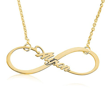 18K Gold Plated Personalised Name Infinity Necklace