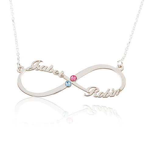 Sterling Silver Personalised Infinity Names & Birthstones Necklace