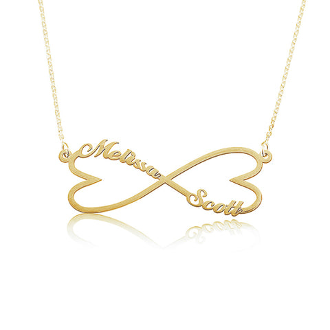18K Gold Plated Personalised Infinity Hearts Names Necklace