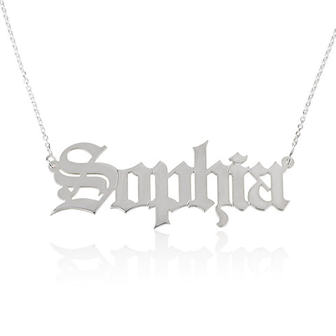 Sterling Silver Personalised Old English Name Necklace