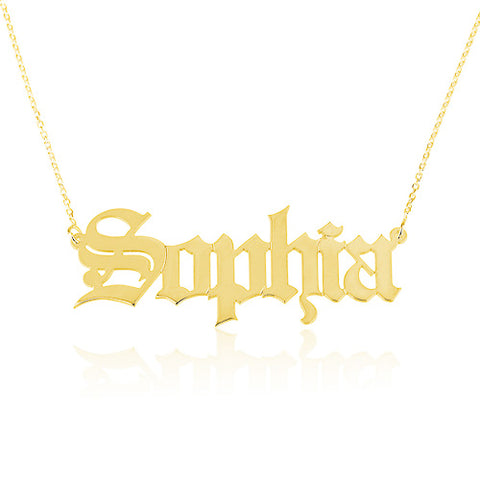 18K Gold Plated Personalised Old English Name Necklace