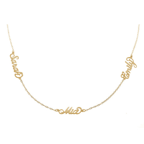 18K Gold Plated Personalised Three Name Necklace