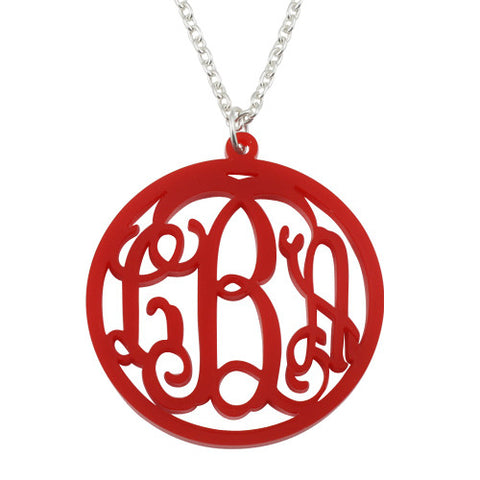 Personalised Circle Acrylic Monogram Necklace