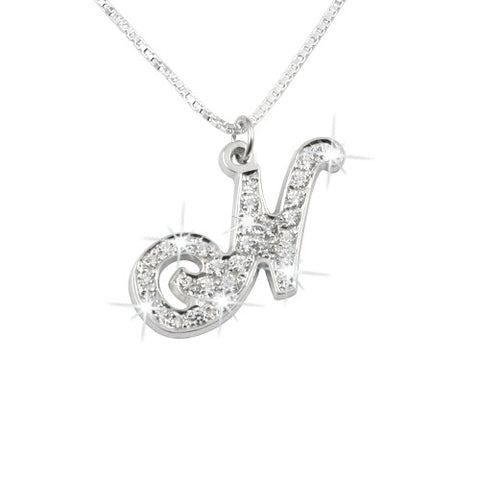 Sterling Silver Personalised Swarovski Initial Necklace