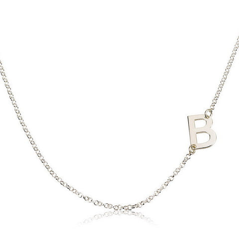 Sterling Silver Personalised Sideways Initial Necklace