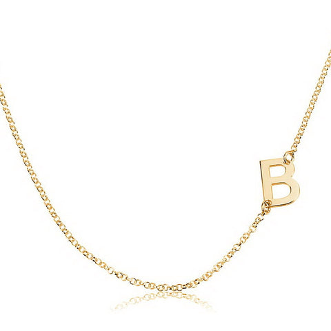 14K Solid Gold Personalised Sideways Initial Necklace