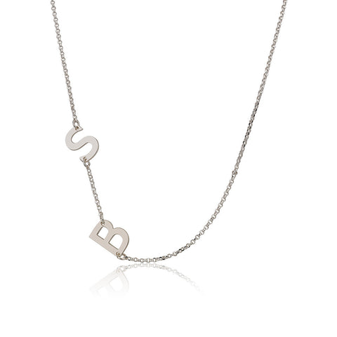 Sterling Silver Sideways Initials Necklace