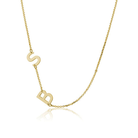 14K Solid Gold Personalised Sideways 2 Initials Necklace