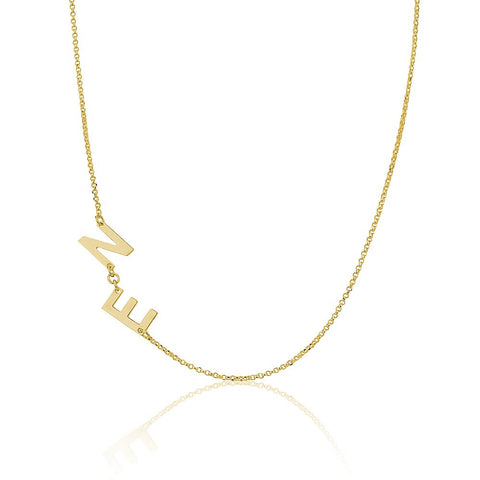 18K Plated Gold Sideways Initials Necklace