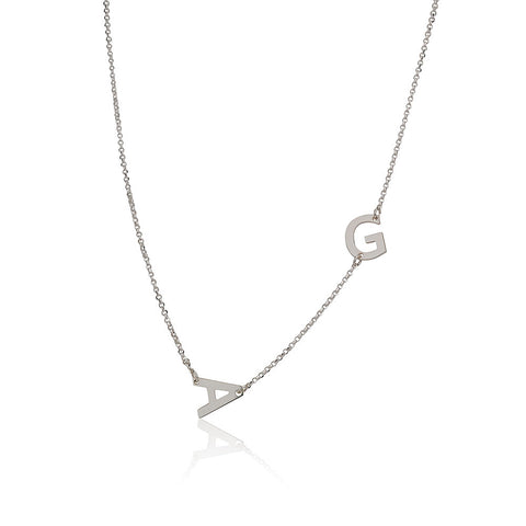 Sterling Silver Personalised Sideways Initials Necklace