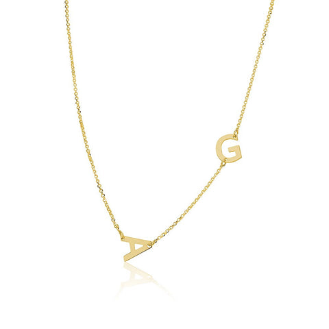 18K Gold Plated Personalised Sideways Initials Necklace