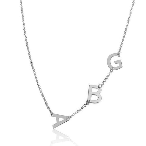 Sterling Silver Personalised Sideways 3 Initials Necklace