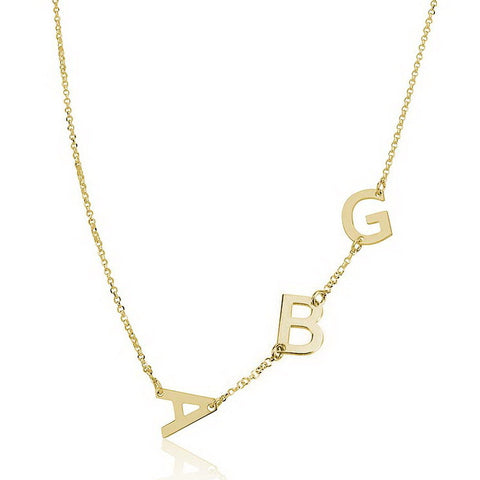 14K Solid Gold Personalised Sideways 3 Initials Necklace