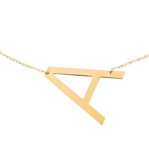18K Gold Plated Personalised Extra Large Initial Necklace