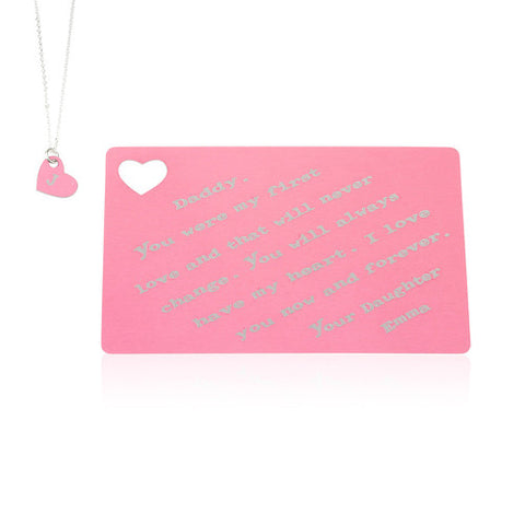 Anodized Aluminium Personalised Gift Card with Necklace