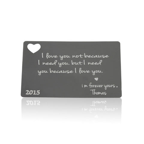 Anodized Aluminium Personalised Gift Card