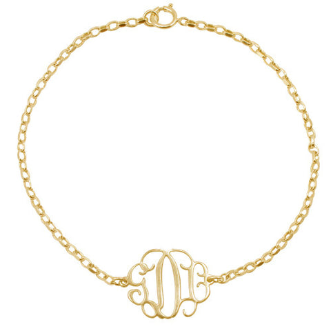 18K Gold Plated Over Sterling Silver Personalised Monogram Bracelet