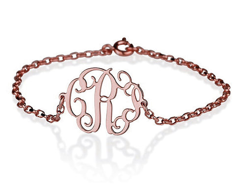 18K Rose Gold Plated Personalised Monogram Bracelet