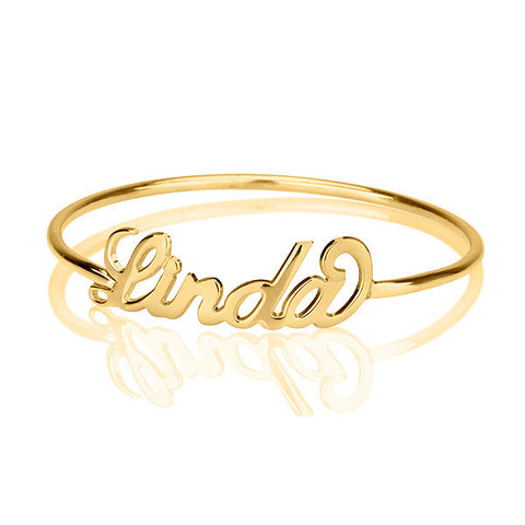 18K Plated Gold Personalised Name Bangle