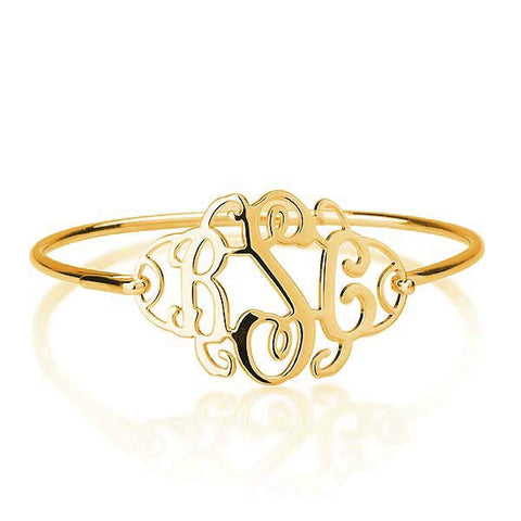 18K Plated Gold Personalised Monogram Bangle