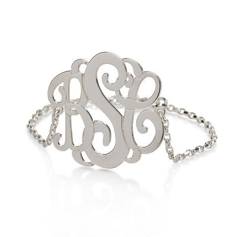 Sterling Silver Personalised Curly Monogram Bracelet