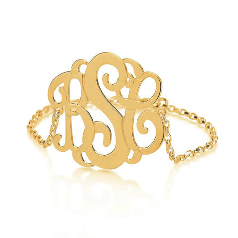 18K Gold Plated Personalised Curly Monogram Bracelet