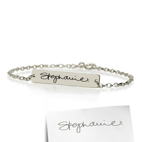 Sterling Silver Personalised Signature/ Handwriting Bracelet