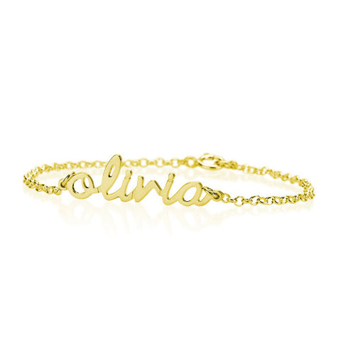 18K Plated Gold Personalised Small Script Name Bracelet