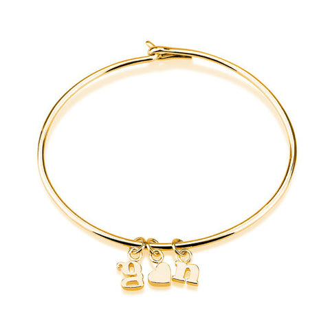 18K Gold Plated Personalised Chunky Letters Bangle